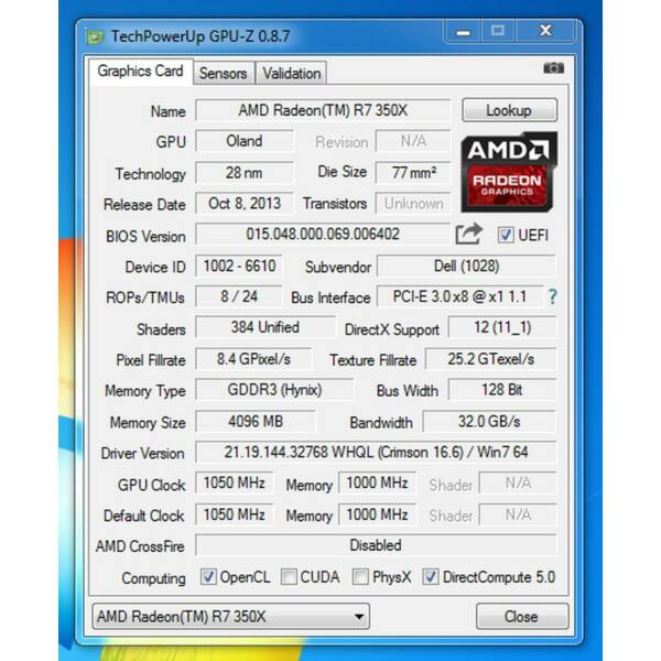 AMD Radeon R7 350x 4GB, 128 bit PCI-E 3.0 DX12 videokártya