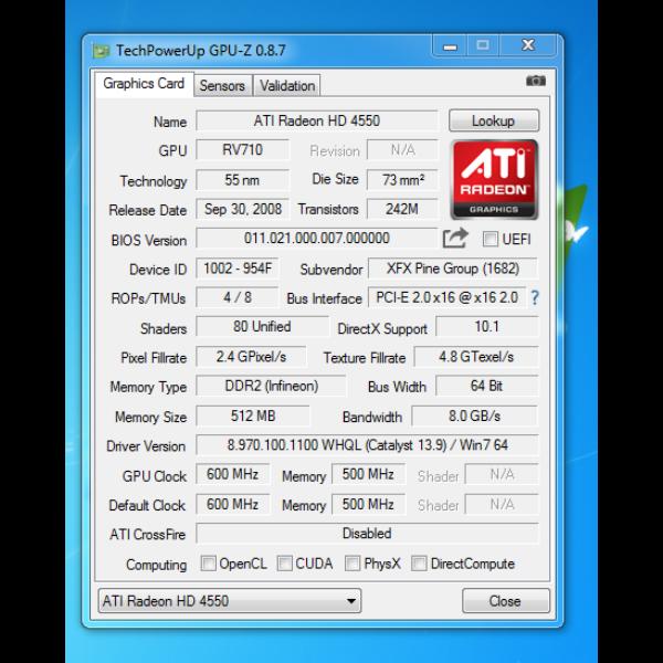 XFX Radeon HD4550 512MB DDR2 Videokártya