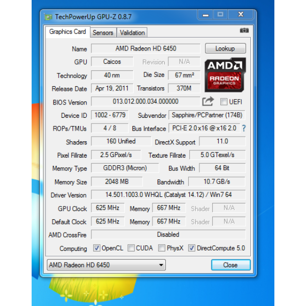 SAPPHIRE Radeon HD 6450 2GB GDDR3 64bit Videokártya