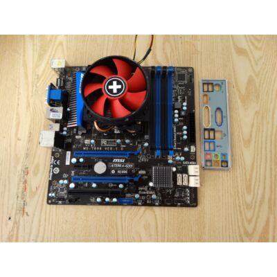 MSI A75MA-G55 Alaplap+A6 x3 3500 CPU, rézmagos hűtő, hátlap