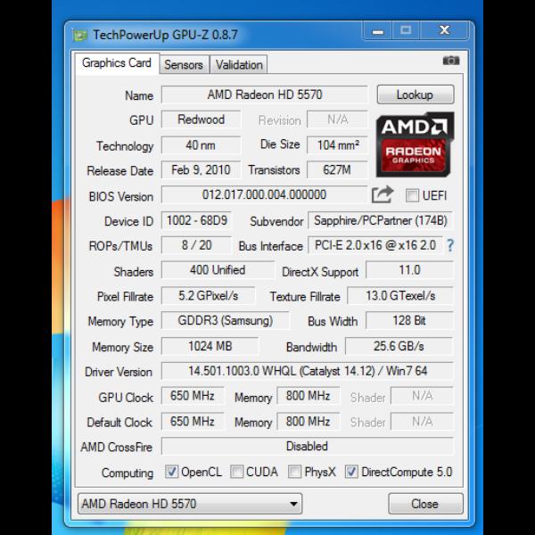 Sapphire ATI Radeon HD 5570 1GB DDR3 128bit,HDMI PCIE